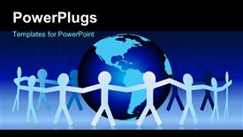 PowerPoint template displaying paper people hold hands around earth globe symbolizing unity