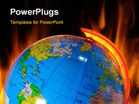 PowerPoint template displaying burning globe, global warming concept