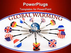 PowerPoint template displaying globe with different flag darts in a circle and global warming text