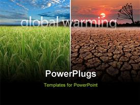 PowerPoint template displaying conceptual depictions demonstrating the possible effect of global warming in the background.