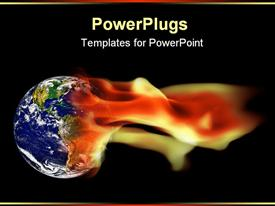 PowerPoint template displaying global warming concept planet Earth surrounded by flames in the background.