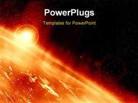 PowerPoint template displaying the surface of the sun along with many explosions