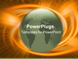 PowerPoint template displaying globe and explosive orange background