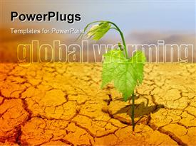PowerPoint template displaying green plant on background of cracked soil in the background.