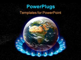 PowerPoint template displaying planet earth over heated on flames - global warming concept in the background.