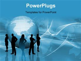 PowerPoint template displaying silhouettes of a business team on abstract globe background