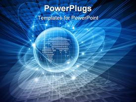 PowerPoint template displaying abstract blue background is from different lines