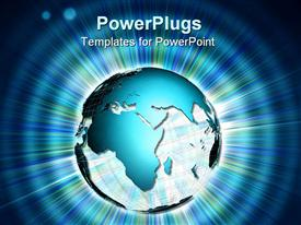PowerPoint template displaying abstract depiction with world globe over lights and rays in the background.