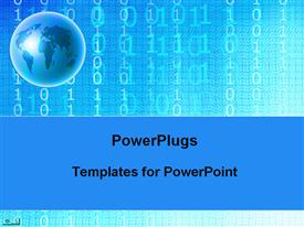 PowerPoint template displaying depiction of a plain blue background with binary and globe