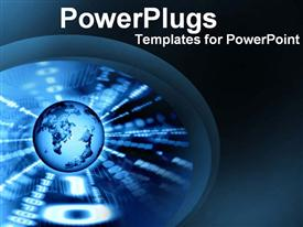 PowerPoint template displaying blue globe showing digital technology world