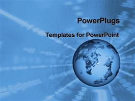 PowerPoint template displaying blue Globe with hallow