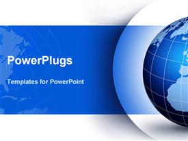 PowerPoint template displaying blue and white globe with lines of latitude and longitude on blue and white background
