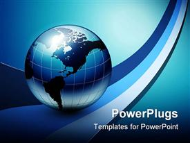 Business background blue with earth globe powerpoint design layout