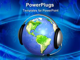 PowerPoint template displaying earth globe with headphones and microphone depicting customer support