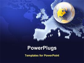PowerPoint template displaying clear earth globe on European map in blue background
