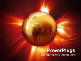PowerPoint template displaying global Warming - View of Western Earth & Solar Flare in the background.