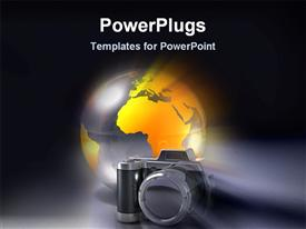 PowerPoint template displaying abstract depiction of a gold colored globe and black camera