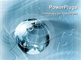 PowerPoint template displaying 3D graphics of a large blue colored globe with puzzles