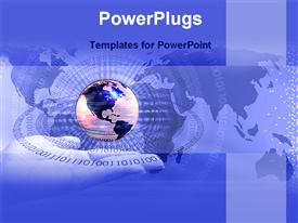 PowerPoint template displaying globe hovering above outstretched hand on world map background with binary numbers