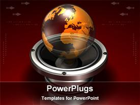 PowerPoint template displaying globe in a metallic base
