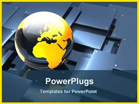 PowerPoint template displaying globe with metallic plates in the background.
