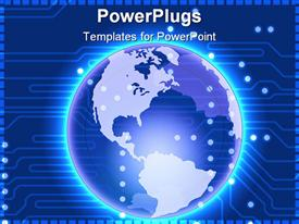 PowerPoint template displaying glowing Earth globe world on circuit board background, technology, IT, global communications, networking
