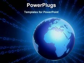 PowerPoint template displaying glowing blue globe radiating binary numbers