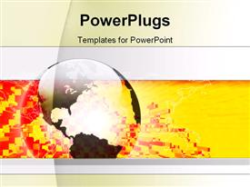 PowerPoint template displaying large 3D transparent globe on gold colored broken bricks