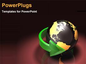 PowerPoint template displaying world turning global business outreach international work on a black background