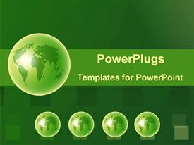 PowerPoint template displaying green globes