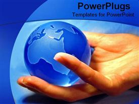 Holding a blue globe template for powerpoint