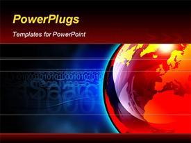Large reflective orange and yellow globe powerpoint design layout
