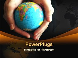 Person holding globe powerpoint design layout