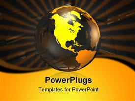 PowerPoint template displaying a large yellow transparent globe on a black background