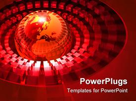 Transparent globe surrounded by a symmetrical pattern of glowing red cubes presentation background