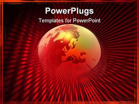 PowerPoint template displaying a large red transparent globe on a red background