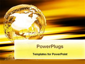 PowerPoint template displaying a globe in a beauiful color and golden background