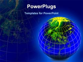 PowerPoint template displaying caged glowing globe seen from top on blue background