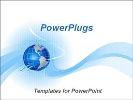 PowerPoint template displaying blue globe on cute abstract background