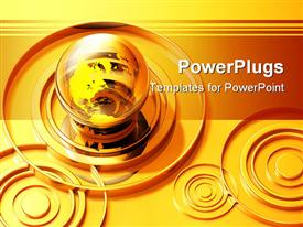 PowerPoint template displaying gold rings around transparent globe, concentric circles