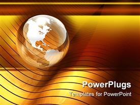 PowerPoint template displaying transparent glossy globe on top of golden wave pattern orange and yellow background