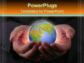 PowerPoint template displaying a pair of hands holding the globe for safety