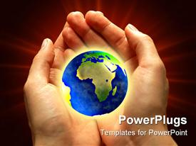 PowerPoint template displaying a pair of hands holding the globe
