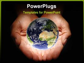 PowerPoint template displaying hands holding the earth on a black background