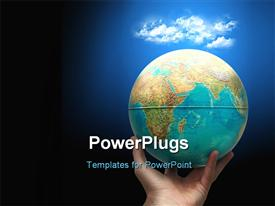 Planet earth holding in hand with clouds above. Weather concept powerpoint template