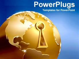 PowerPoint template displaying gold globe with keyhole