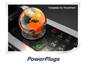 PowerPoint template displaying glossy transparent globe with orange world map on reflecting mobile phone keyboard