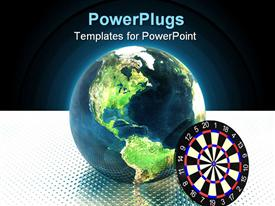 PowerPoint template displaying earth with darts on a white in the background.
