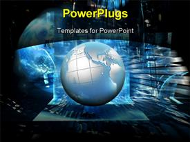 PowerPoint template displaying a globe with a number of wires in the background