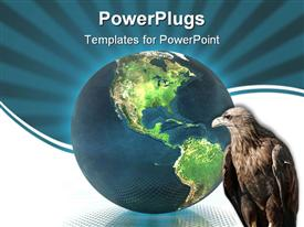PowerPoint template displaying a hawk with a globe in the background and bluish background